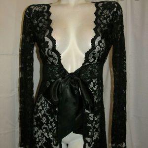 Fabulous Cabi black sheer floral lace Top